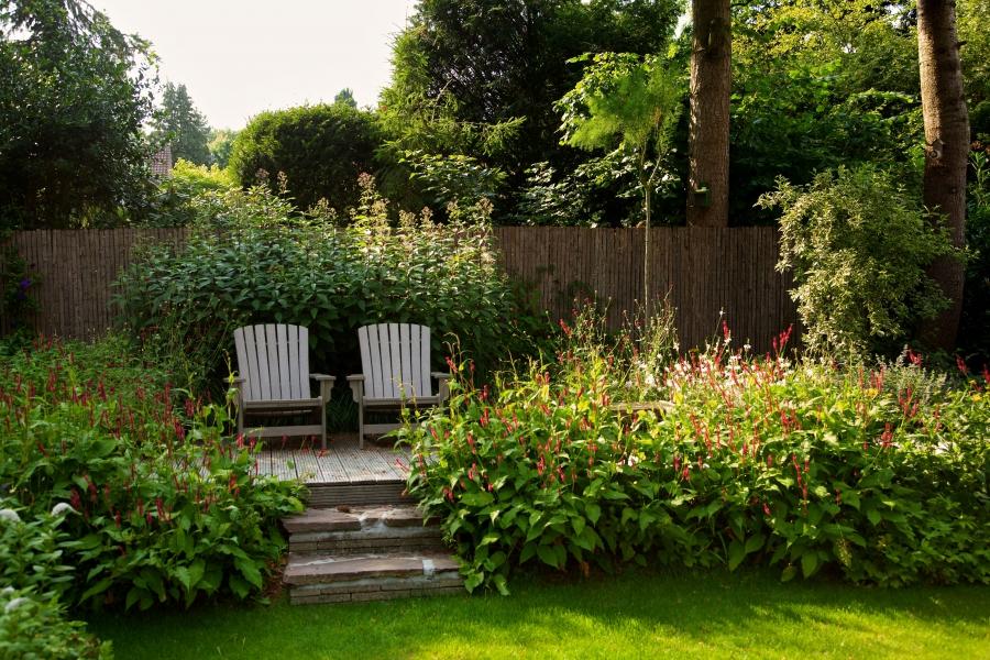 gerealiseerd tuinontwerp met hoogteverschillen